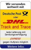 Wir versenden weltweit mit Deutsche Post oder DHL - Jede Lieferung mit Sendungsverfolgung - Express gegen Aufpreis möglich - Weitere Infos