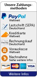 Unsere Zahlungsmethoden: PayPal (Weltweit), Lastschrift (Deutschland), Kreditkarte (Weltweit), Rechungskauf (Deutschland), Vorauskasse (Weltweit), Nachnahme (Siehe weitere Infos)